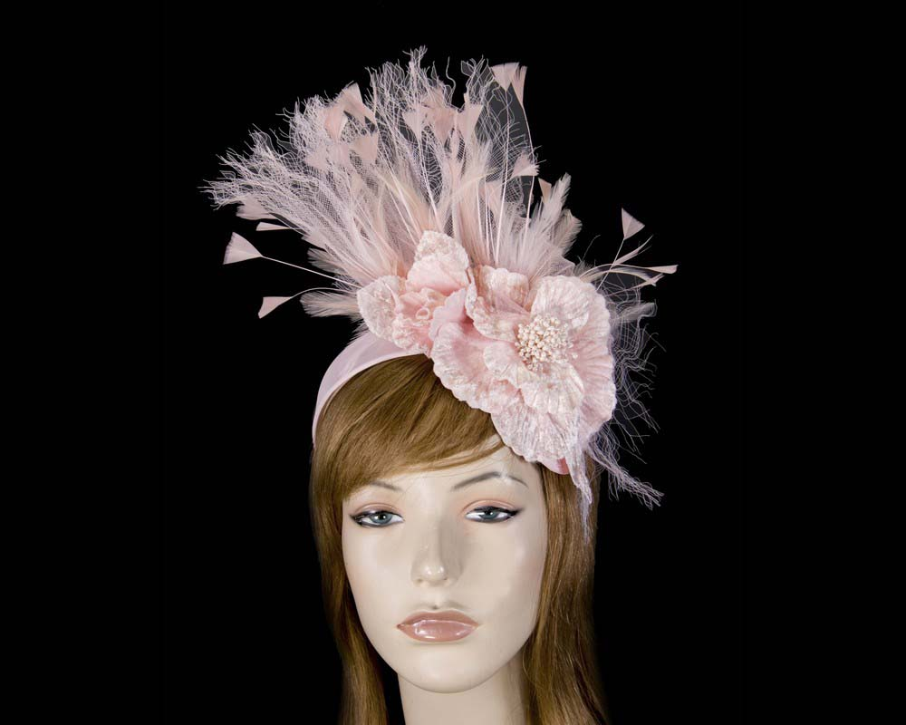 Blush feather flower racing fascinator Fascinators.com.au S215 pink dark