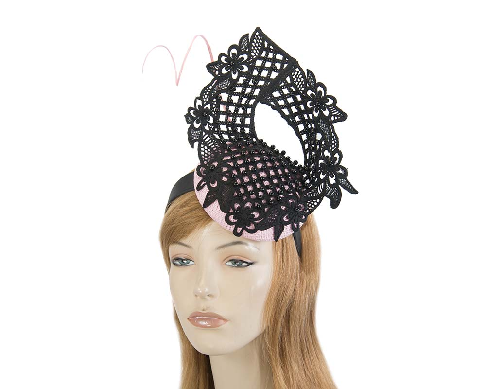 Pink & black lace pillbox fascinator by Fillies Collection Fascinators.com.au S217 pink black