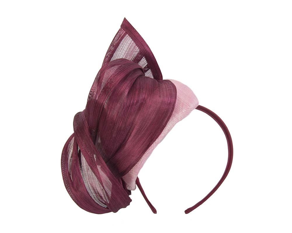 Pink & magenta pillbox with silk abaca bow Fascinators.com.au