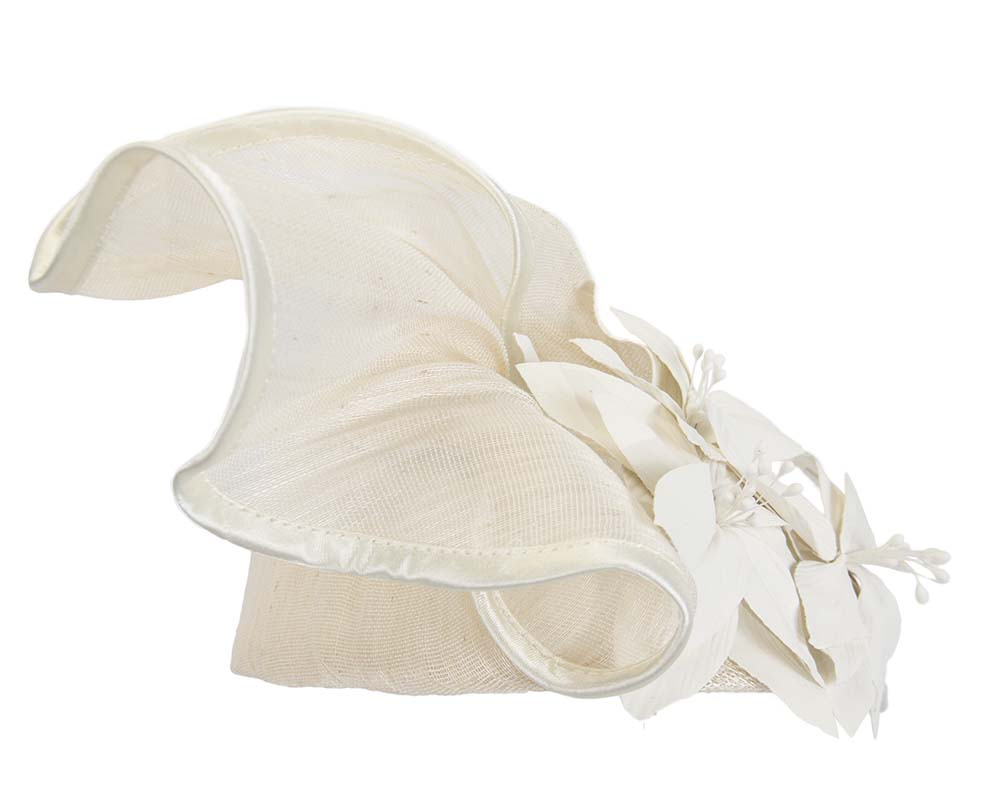 Cream fascinator with leather flowers by Fillies Collection Fascinators.com.au