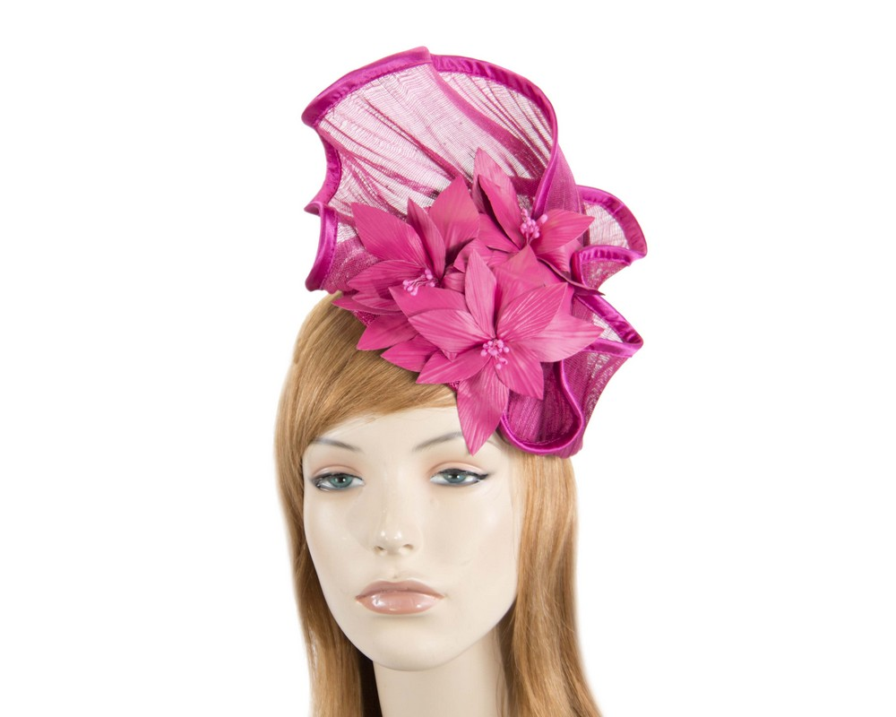 Fuchsia fascinator with leather flowers by Fillies Collection Fascinators.com.au
