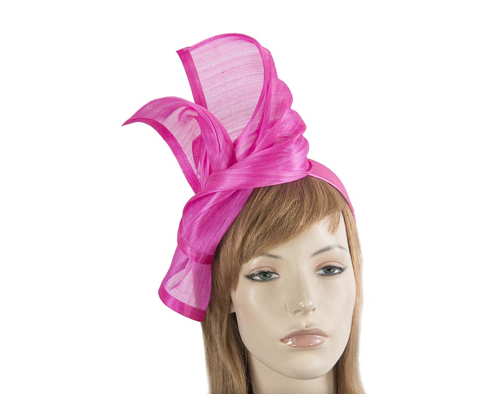 Twisted hot pink silk abaca fascinator by Fillies Collection Fascinators.com.au S222 hot pink