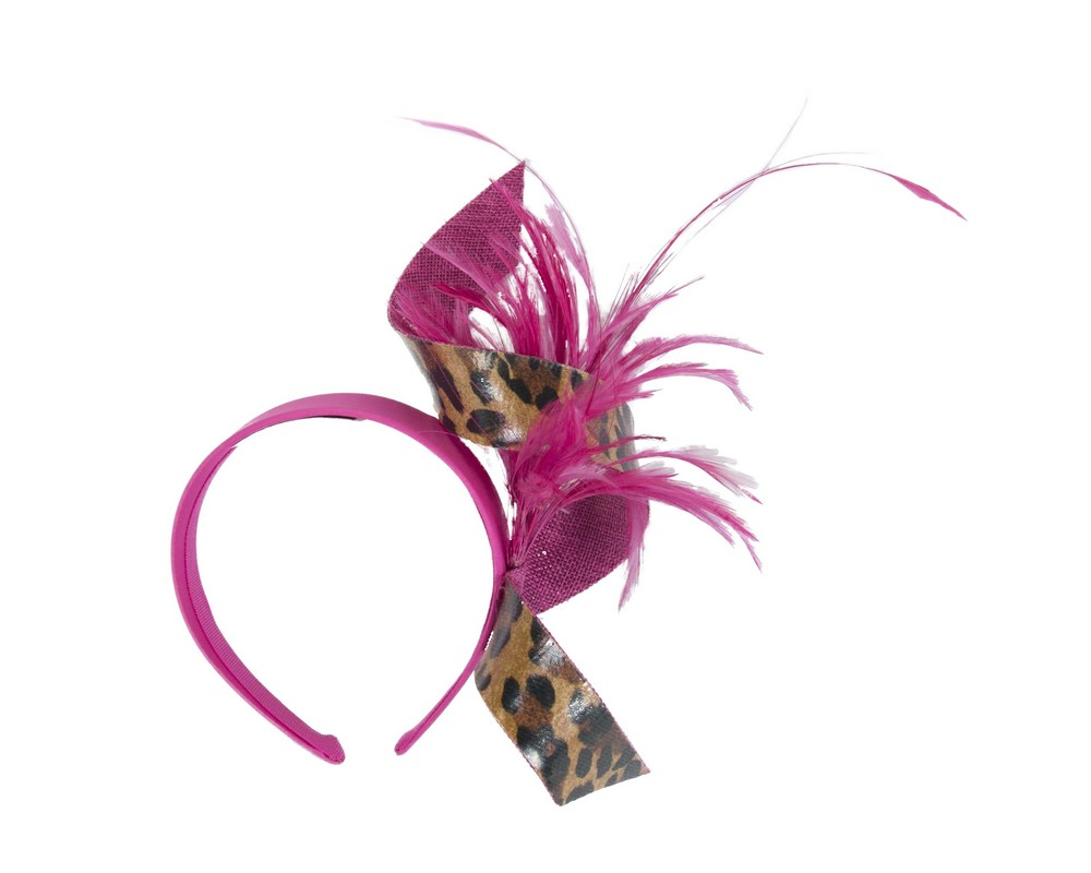 Fuchsia & leopard twist with feathers by Filies Collection Fascinators.com.au