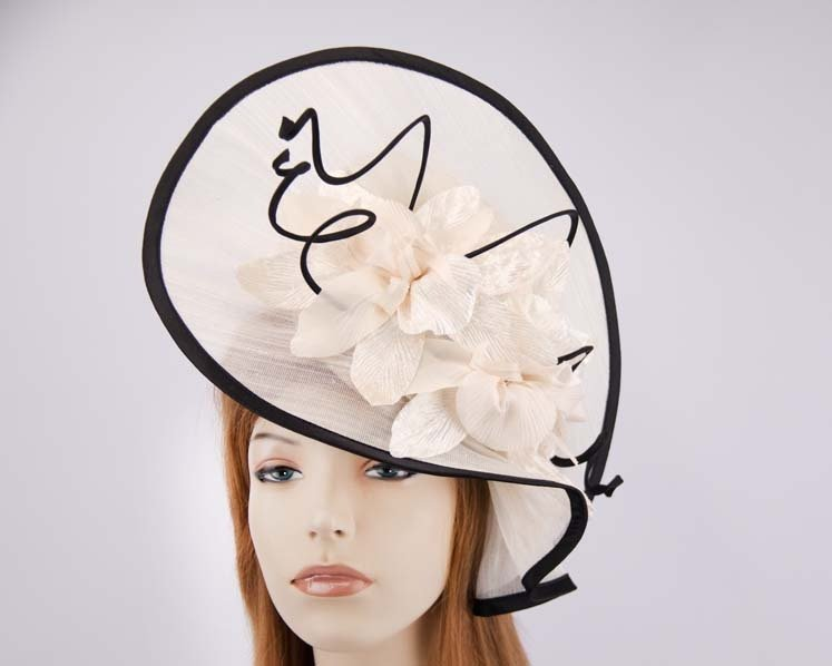 Cream black Australian Made racing fascinator hat S970CB Fascinators.com.au