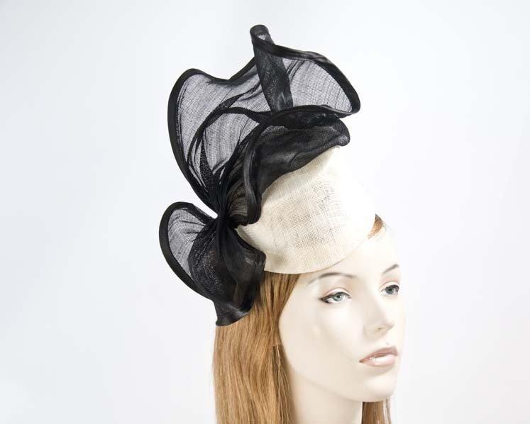 Cream black fascinator hat Fascinators.com.au