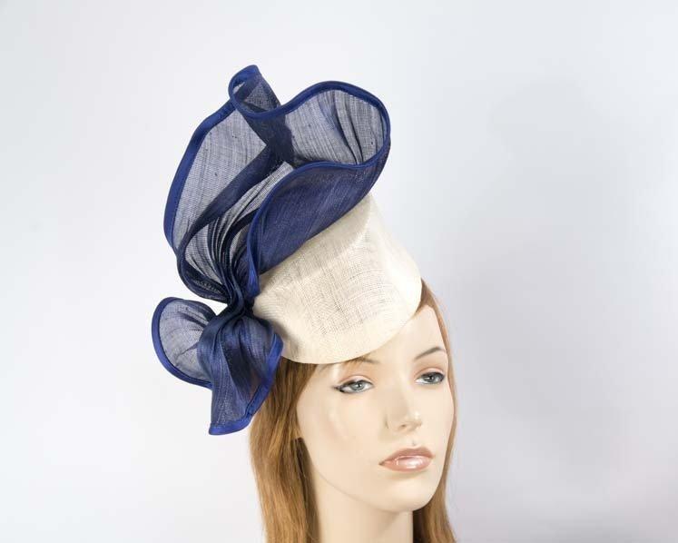 Cream blue fascinator hat Fascinators.com.au