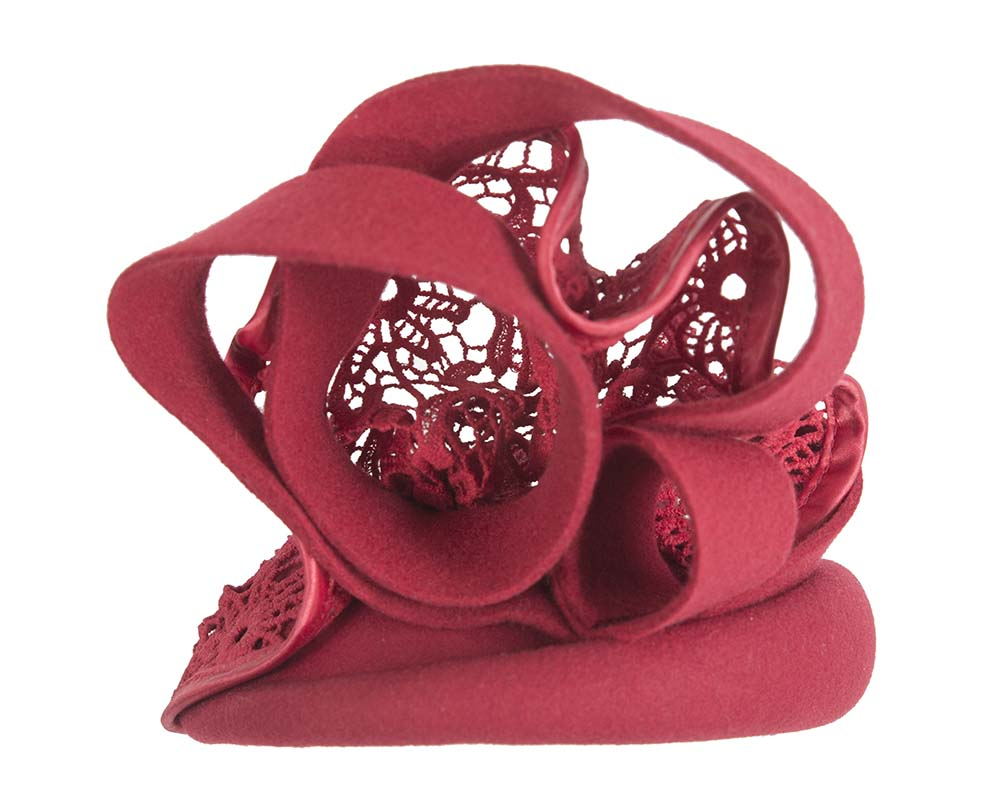 Red felt fascinator with lace Fascinators.com.au