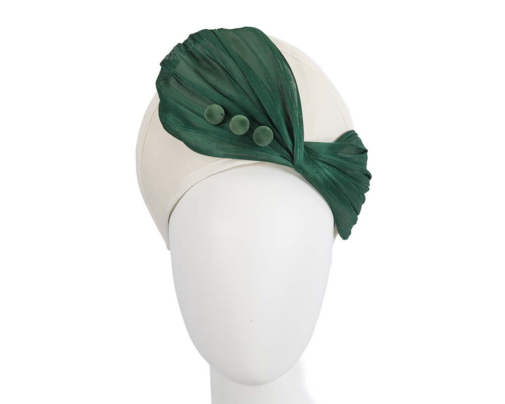 Cream & green winter crown fascinator by Fillies Collection Fascinators.com.au